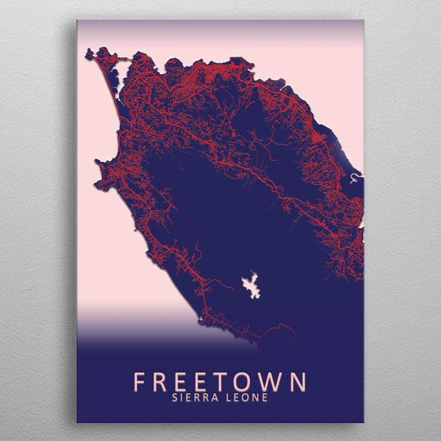 Freetown Sierra Leone City Map metal poster