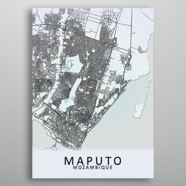 Maputo Mozambique City Map metal poster