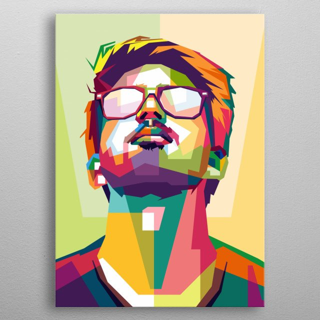 cool style man, design in illustration awesome color metal poster