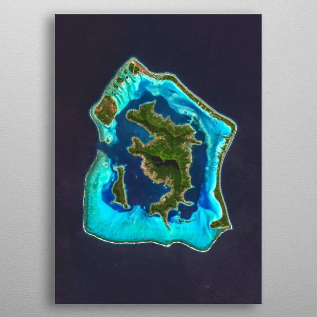 Vibrant satellite image of the Island of Bora Bora, French Polynesia. metal poster