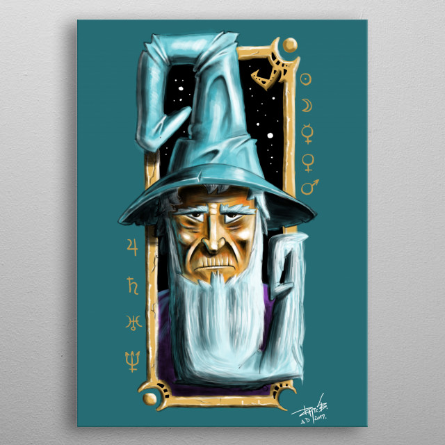 A bearded wizard. metal poster