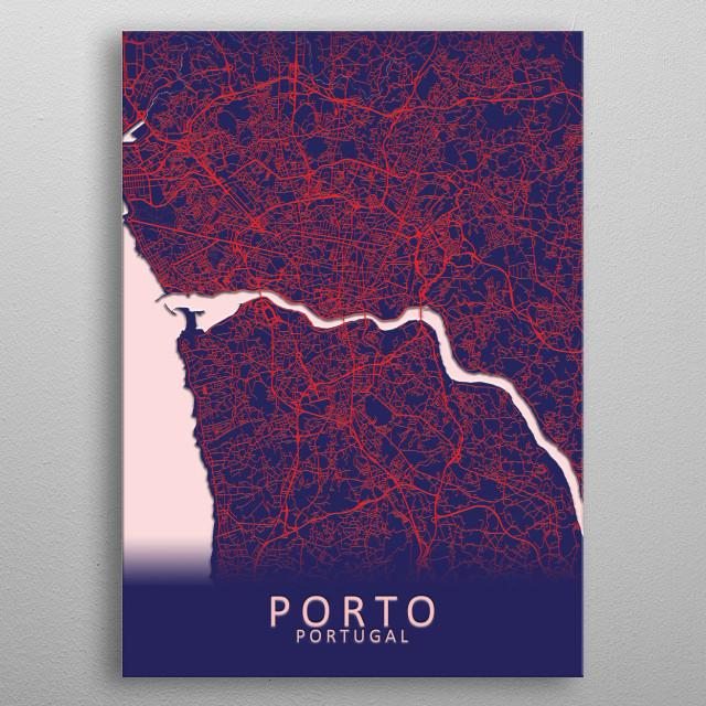 Porto Portugal City Map metal poster