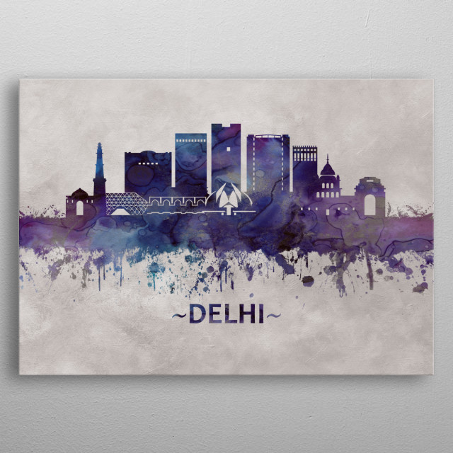 Blue watercolor skyline of Delhi, India's capital territory, a massive metropolitan area in the country's north.  metal poster