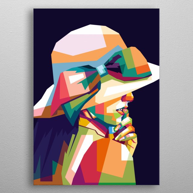 beautiful women with colorful styles, in design wpap metal poster
