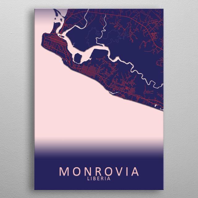 Monrovia Liberia City Map metal poster
