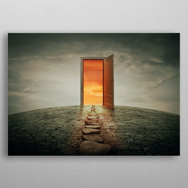 Pathway along a dry, cracked desert land, going to a opened door to another better and colorful world. Road of opportunity and success symbo metal poster