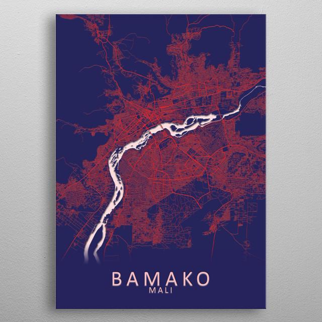 Bamako Mali City Map metal poster