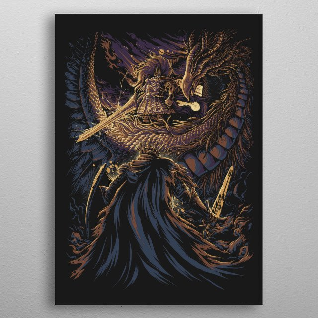 He was once a dragon-slaying god of war, before he sacrificed everything to ally himself with the ancient dragons. metal poster
