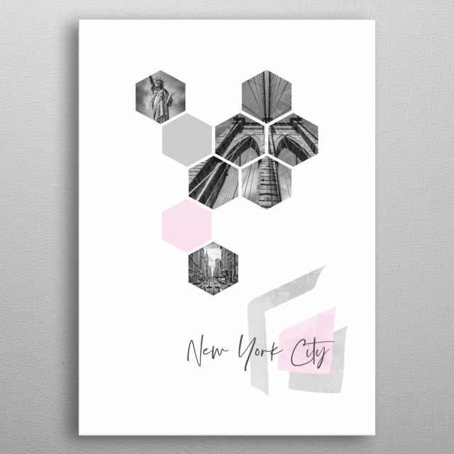 NYC cityscapes in geometric shapes showcase perfectly each single moment. Discover 5th Avenue traffic, Statue of Liberty, Brooklyn Bridge. metal poster