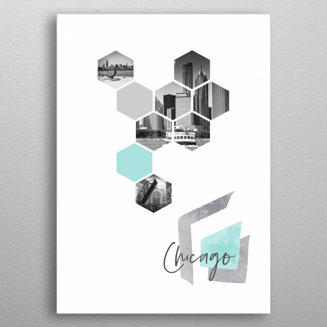 Cityscapes in geometric shapes showcase perfectly each single moment. Discover skylines with Lake Michigan and Kinzie Street Railroad Bridge metal poster