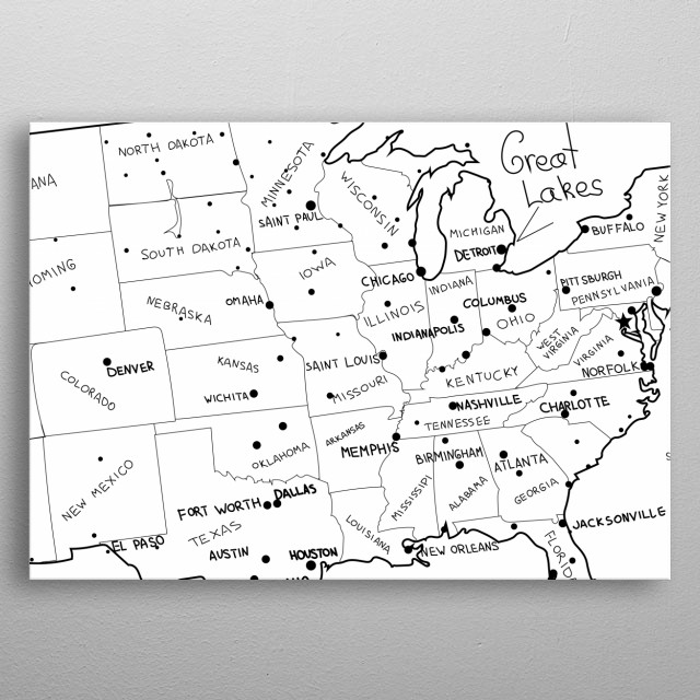 USA map vector Hand drawn United States Poster Print   metal ...