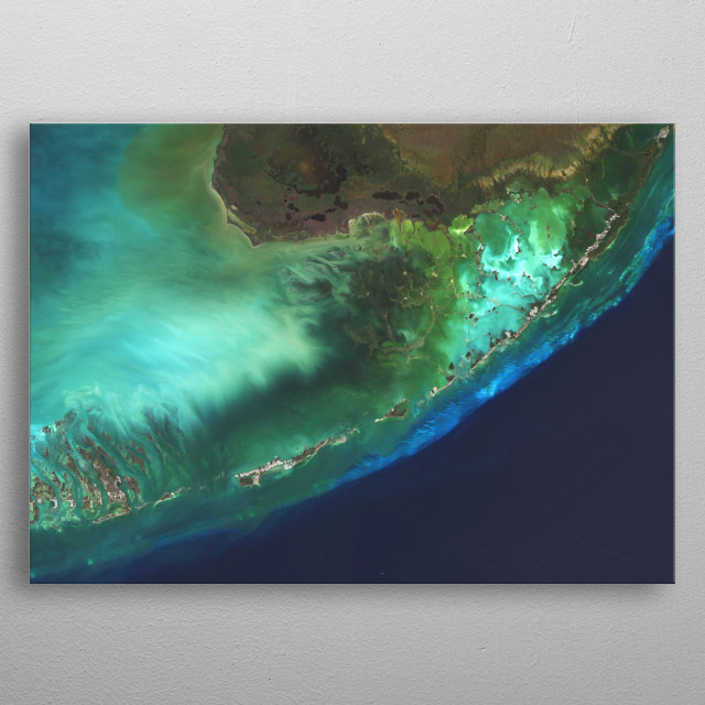 Vibrant satellite image of the Florida Keys, USA. metal poster