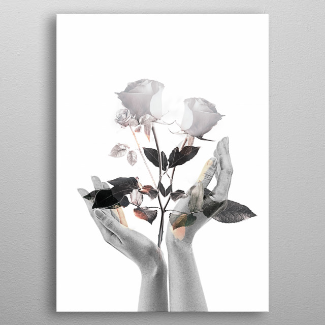 Golden florescent hands with shiny butterflies. Designed By Sam metal poster