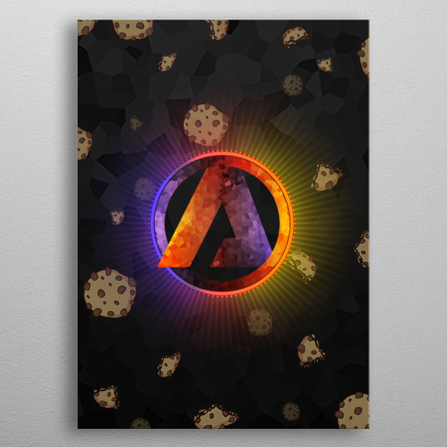 Ammax Logo with Cookie explosion from the center metal poster