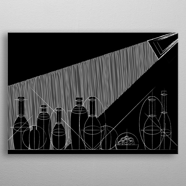 style of mountain painting or chalk on the blackboard metal poster