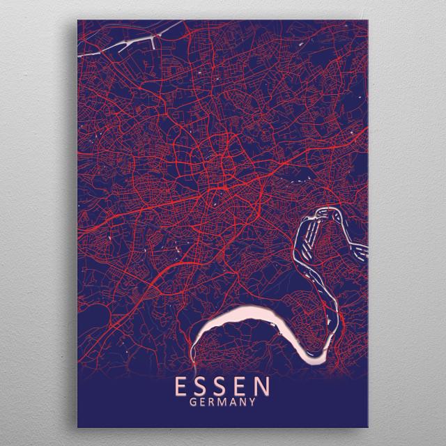Essen Germany City Map metal poster