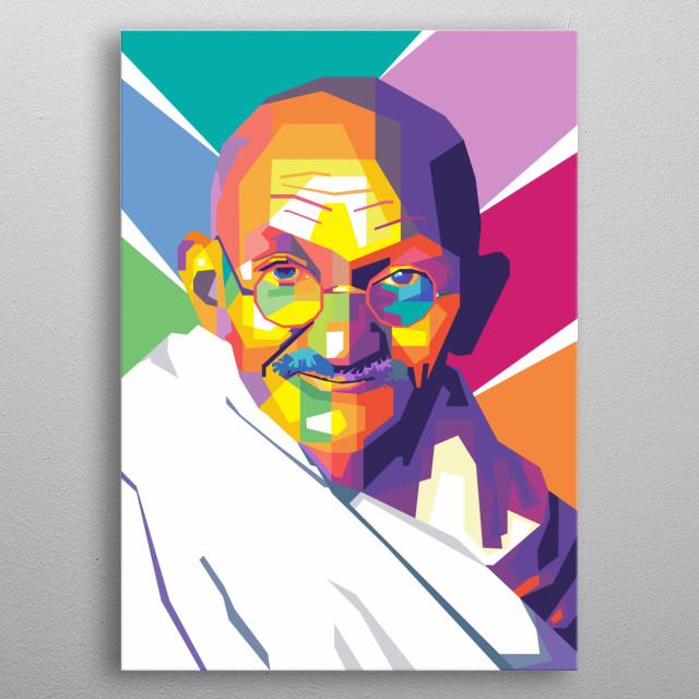 Mahatma Gandhi in wpap art metal poster