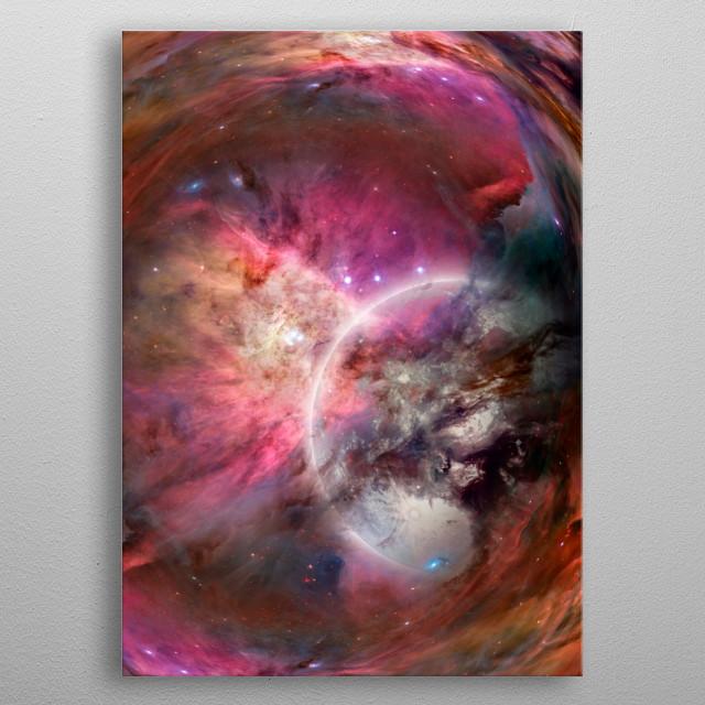 Space warp. Mystic bright planet in vivid universe metal poster