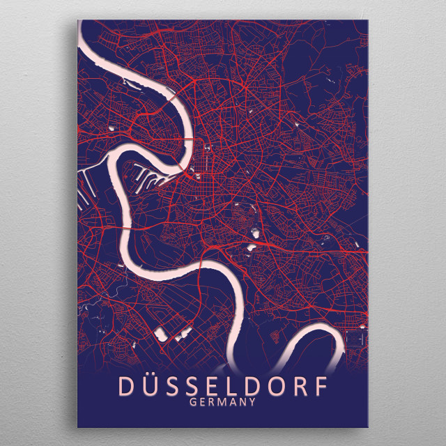 Dusseldorf Germany City Map metal poster