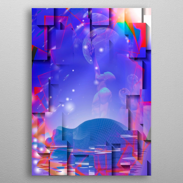 Human like face and golden age sci fi style art metal poster