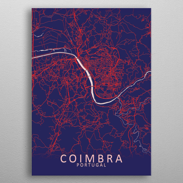 Coimbra Portugal City Map metal poster