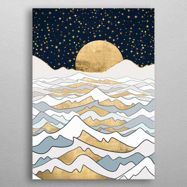 Abstract depiction of reflection on the ocean with gold, blue and stars metal poster