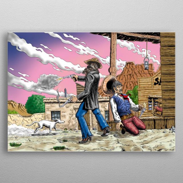 a western scene in wild west metal poster