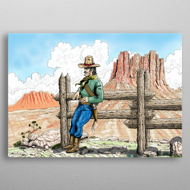 a scene of western world metal poster