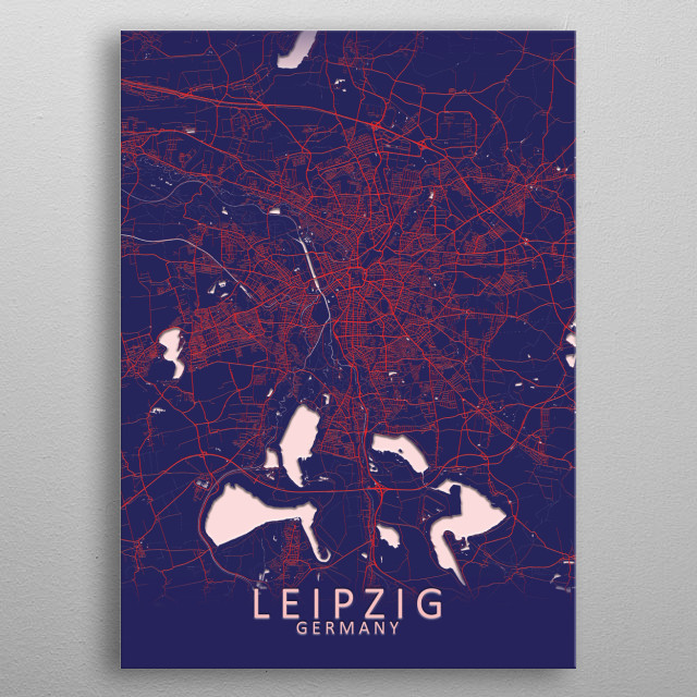 Leipzig Germany City Map metal poster