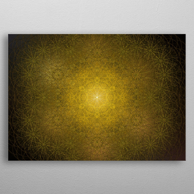 Sacred geometry mandala with Solar energies, focused on gold, light, beauty and the number six. metal poster