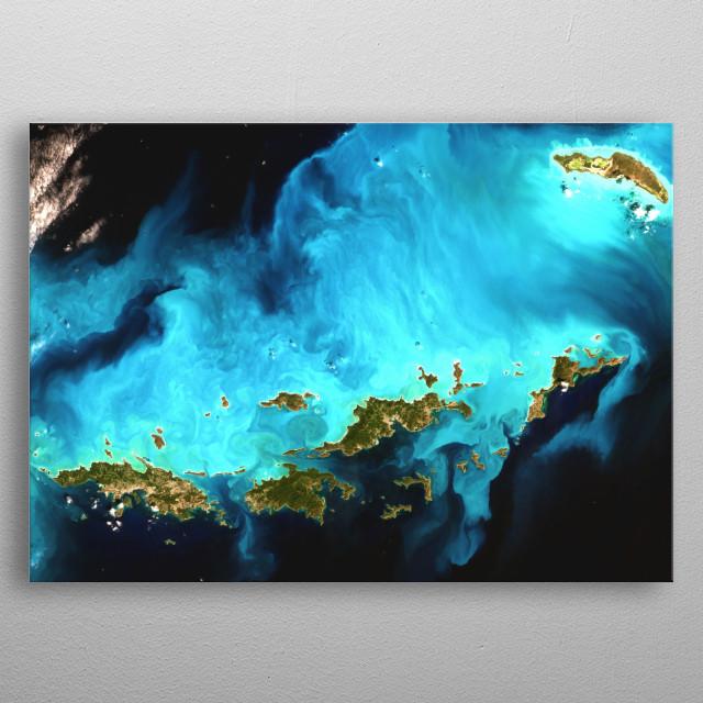 Vibrant satellite image of the Virgin Islands. metal poster
