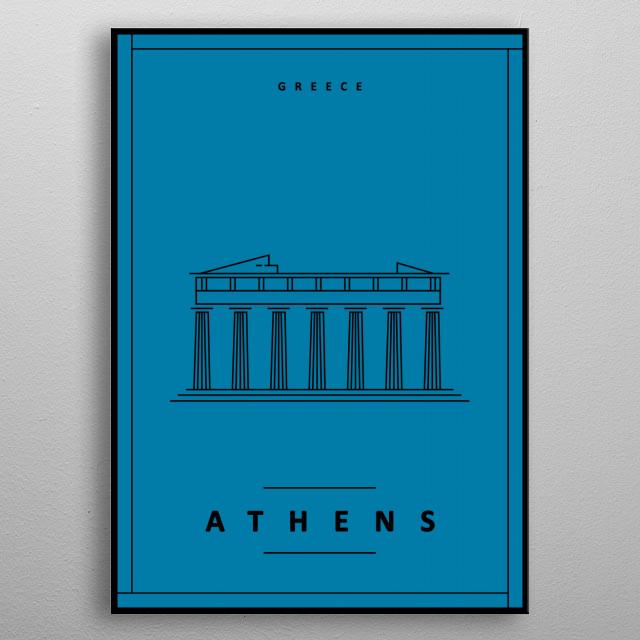 Athens Minimalist Illustration Poster metal poster