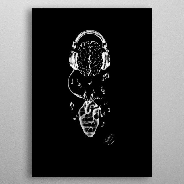 Drawing made to symbolize the love of music metal poster