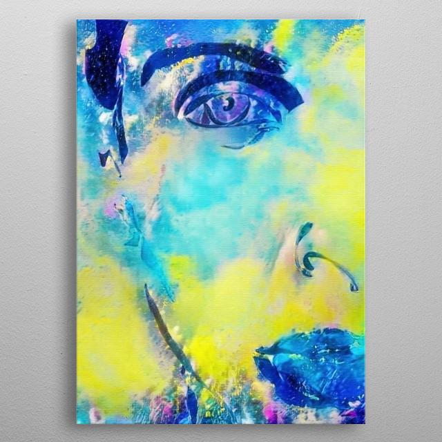 Vivid painting. Lady in pastel colors metal poster