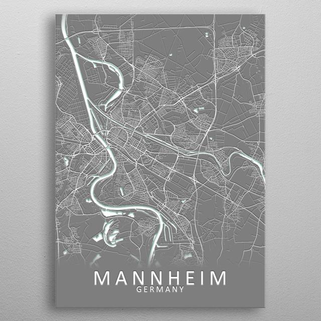 Mannheim Germany City Map metal poster