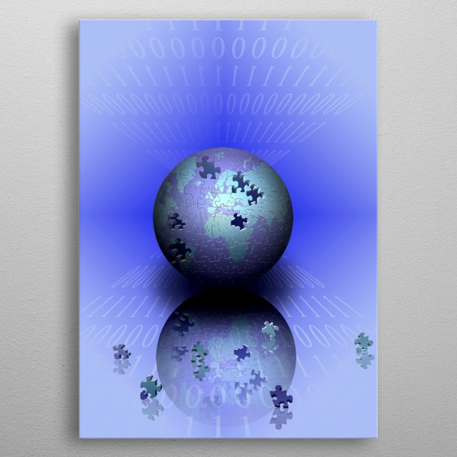Planet Earth in jigsaw pattern, binary code and pieces of puzzle metal poster