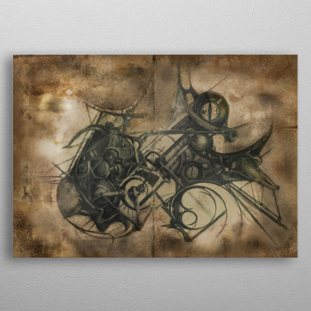 Another weird construct from Imaginary Lands... Is that a vehicle or a creature ? (Conversion of an original drawing on two wooden panels.) metal poster