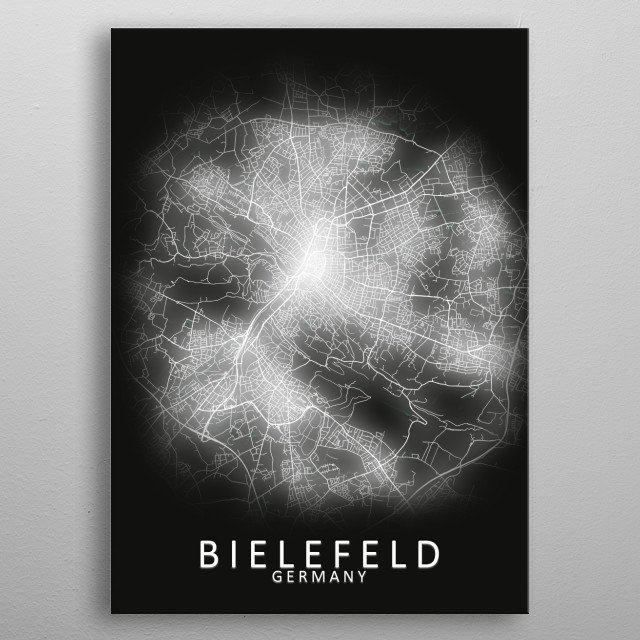Bielefeld Germany City Map metal poster