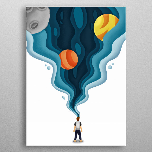 illustrate a dreamer who wants to realize what he has always wanted. This illustration is very suitable to be placed in the bedroom. metal poster