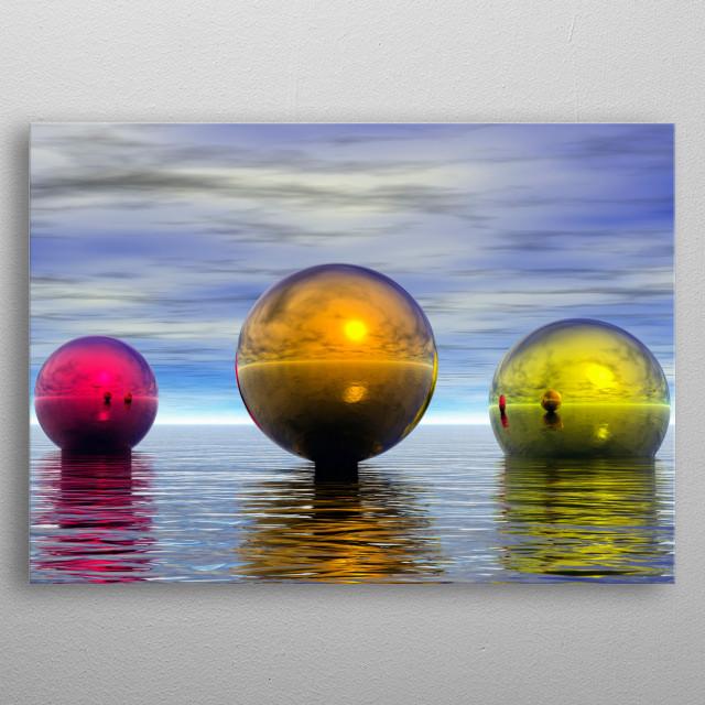 Colorful spheres hovers above ocean metal poster