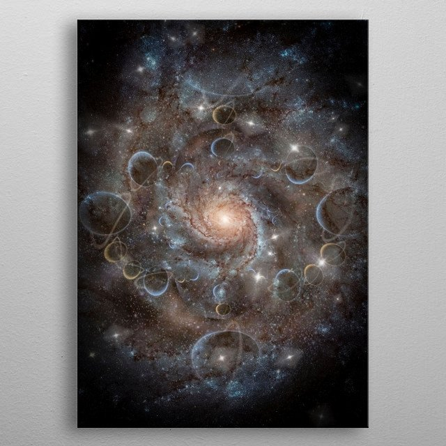 Deep space fractal. The Galaxy is born metal poster
