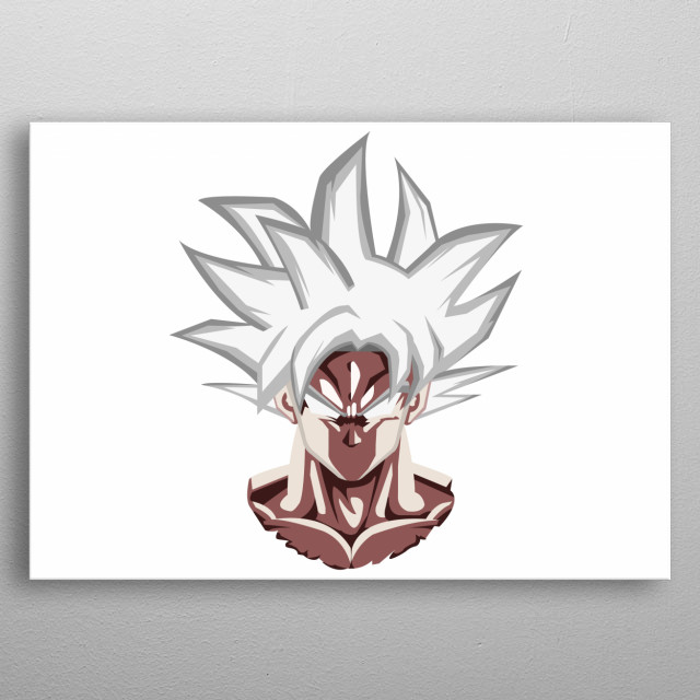 this one is a minimalist illustration of the ultra instinct goku (Migatte no Gokui).  metal poster