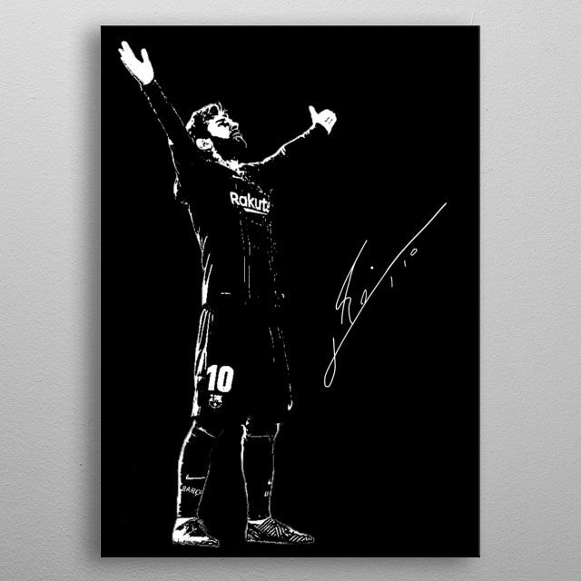 Illustration of Lionel Messi metal poster