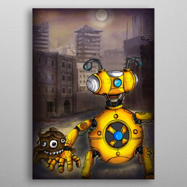 Xbot is character I have been exploring in my sketching , he hangs out with his alien friend fur -ball in this futuristic setting. enjoy metal poster
