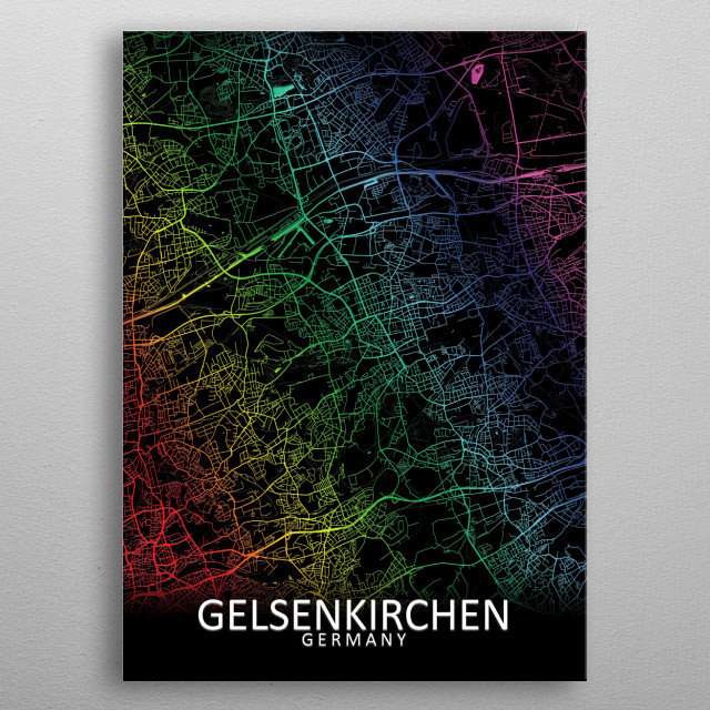 Map Of Germany Gelsenkirchen.Gelsenkirchen Germany Map By City Map Art Prints Metal Posters Displate