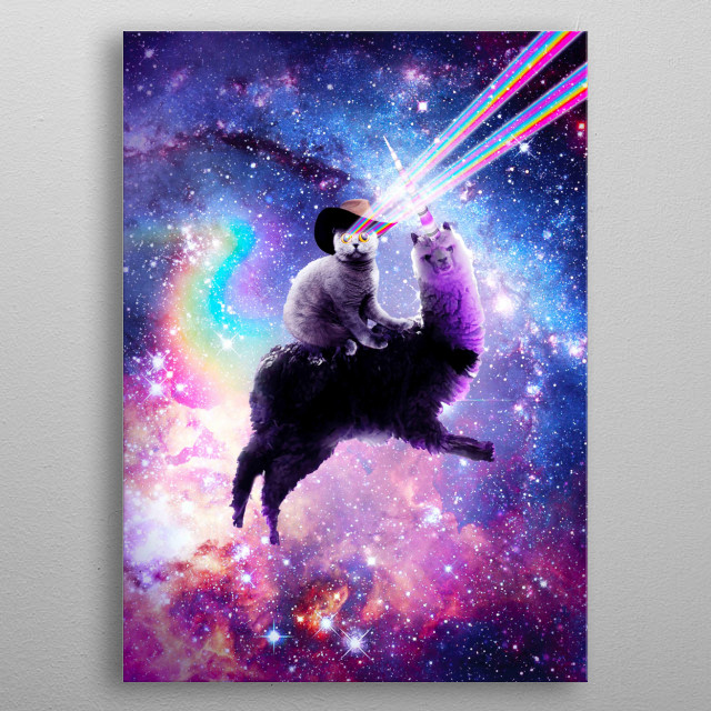 Pick up this crazy weird rainbow galaxy cat design.  metal poster