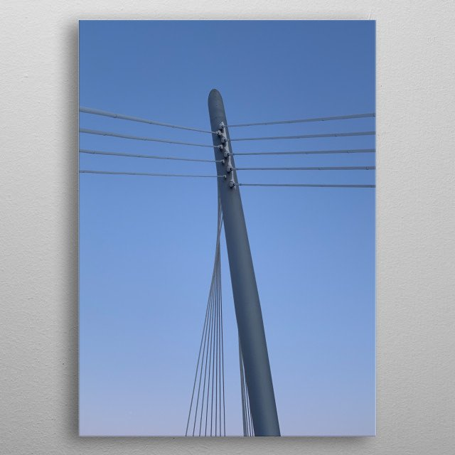An unedited shot of a bride structure hanger against a beautiful, bright sky. metal poster