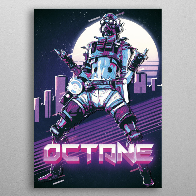 80s Outrun style inspired Octane character from the game Apex Legends. Gradient sun and city skyline in the background, eighties style. metal poster