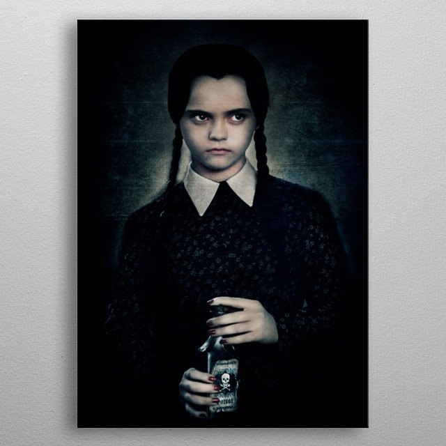 Digital Art inspired by the Addams Family and Wednesday Adamms/Christina Ricci metal poster