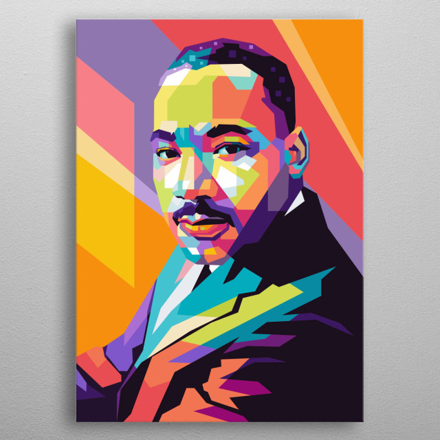 Illustration of martin luther king in wpap pop art style metal poster